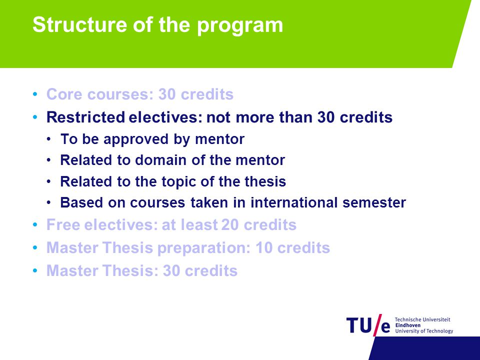 Structure of the program Core courses: 30 credits Restricted electives: not more than 30 credits Free electives: at least 20 credits OML electives IM electives Other TU/e electives Other universities in the Netherlands International semester (include also 5 credits of restricted electives) Master Thesis preparation: 10 credits Master Thesis: 30 credits