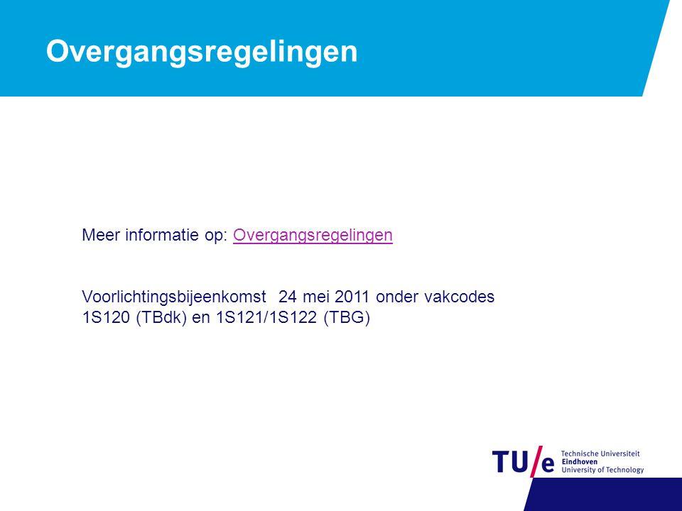 Overgangsregelingen Meer informatie op: OvergangsregelingenOvergangsregelingen Voorlichtingsbijeenkomst 24 mei 2011 onder vakcodes 1S120 (TBdk) en 1S121/1S122 (TBG)