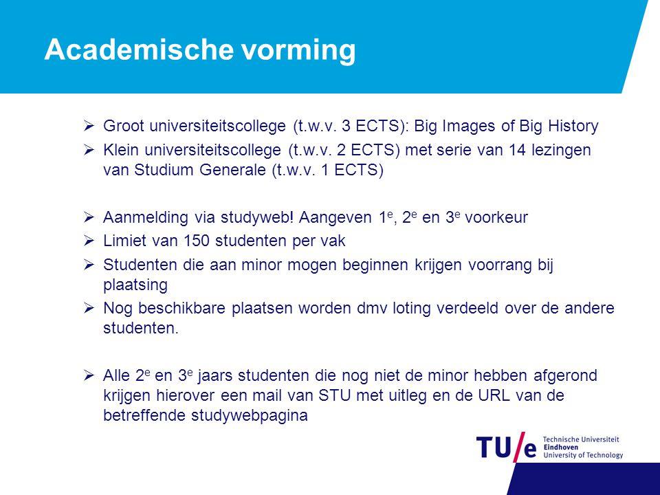 Academische vorming  Groot universiteitscollege (t.w.v.