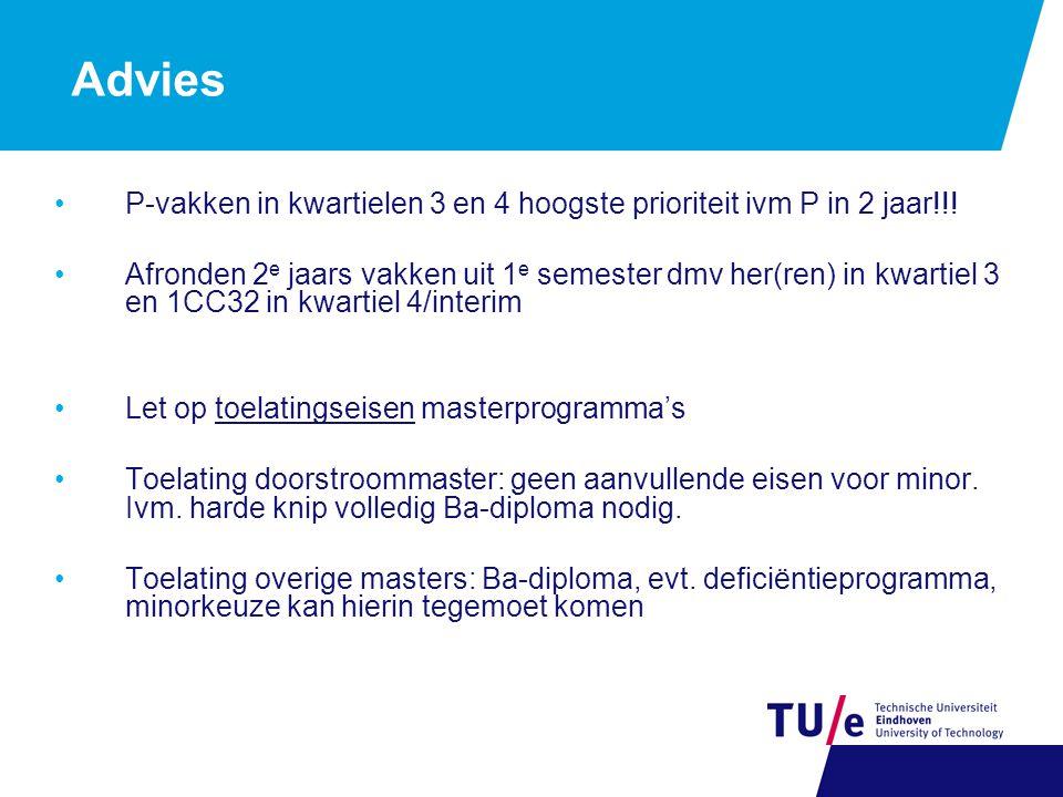Advies P-vakken in kwartielen 3 en 4 hoogste prioriteit ivm P in 2 jaar!!.