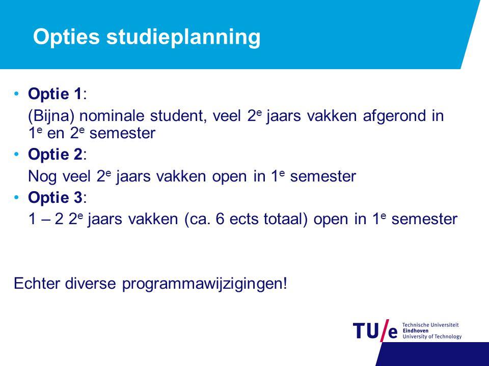 Opties studieplanning Optie 1: (Bijna) nominale student, veel 2 e jaars vakken afgerond in 1 e en 2 e semester Optie 2: Nog veel 2 e jaars vakken open in 1 e semester Optie 3: 1 – 2 2 e jaars vakken (ca.