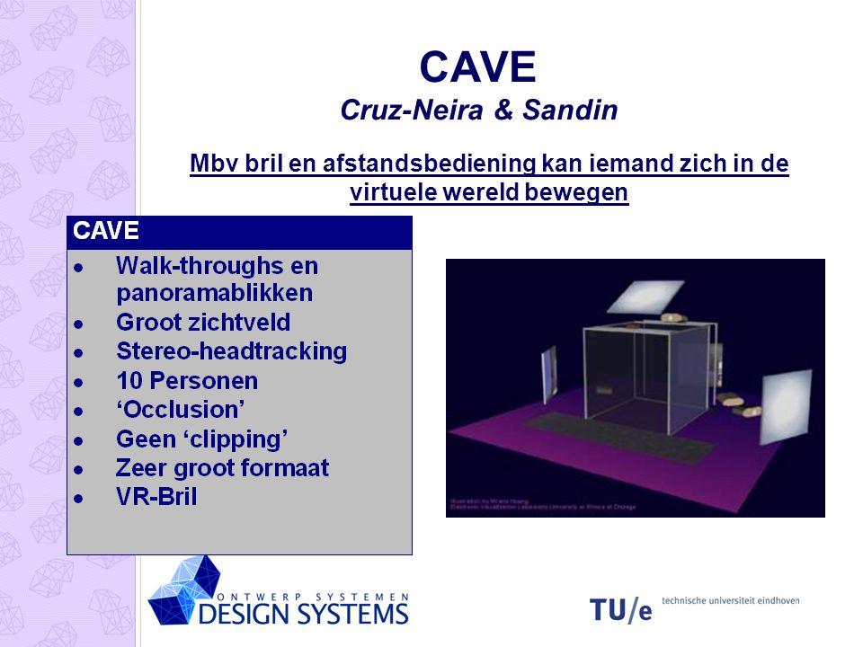 CAVE Cruz-Neira & Sandin Mbv bril en afstandsbediening kan iemand zich in de virtuele wereld bewegen
