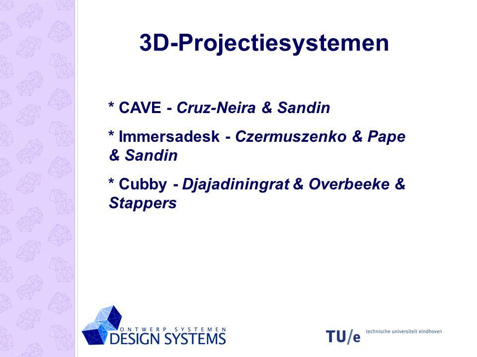3D-Projectiesystemen * CAVE - Cruz-Neira & Sandin * Immersadesk - Czermuszenko & Pape & Sandin * Cubby - Djajadiningrat & Overbeeke & Stappers