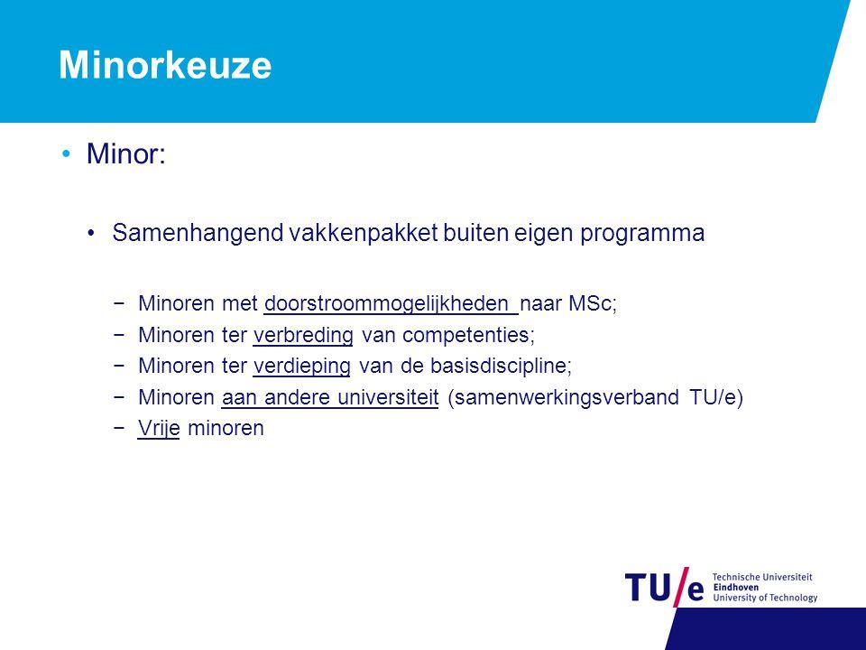 Minorkeuze Minor: Samenhangend vakkenpakket buiten eigen programma −Minoren met doorstroommogelijkheden naar MSc; −Minoren ter verbreding van competen