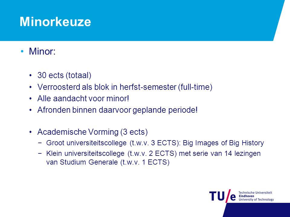 Minorkeuze Minor: 30 ects (totaal) Verroosterd als blok in herfst-semester (full-time) Alle aandacht voor minor.
