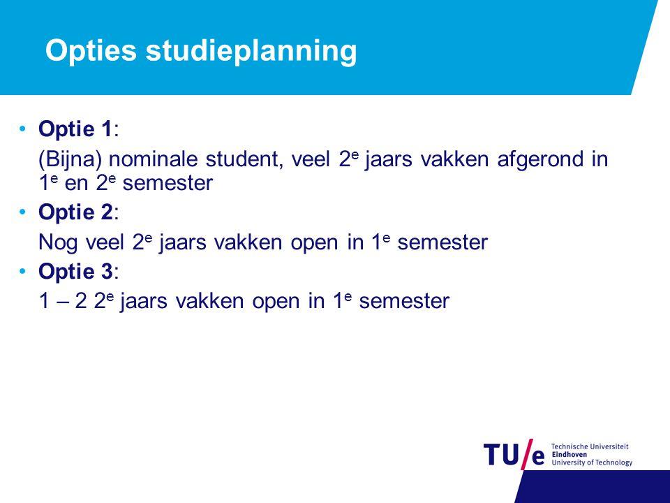 Opties studieplanning Optie 1: (Bijna) nominale student, veel 2 e jaars vakken afgerond in 1 e en 2 e semester Optie 2: Nog veel 2 e jaars vakken open in 1 e semester Optie 3: 1 – 2 2 e jaars vakken open in 1 e semester