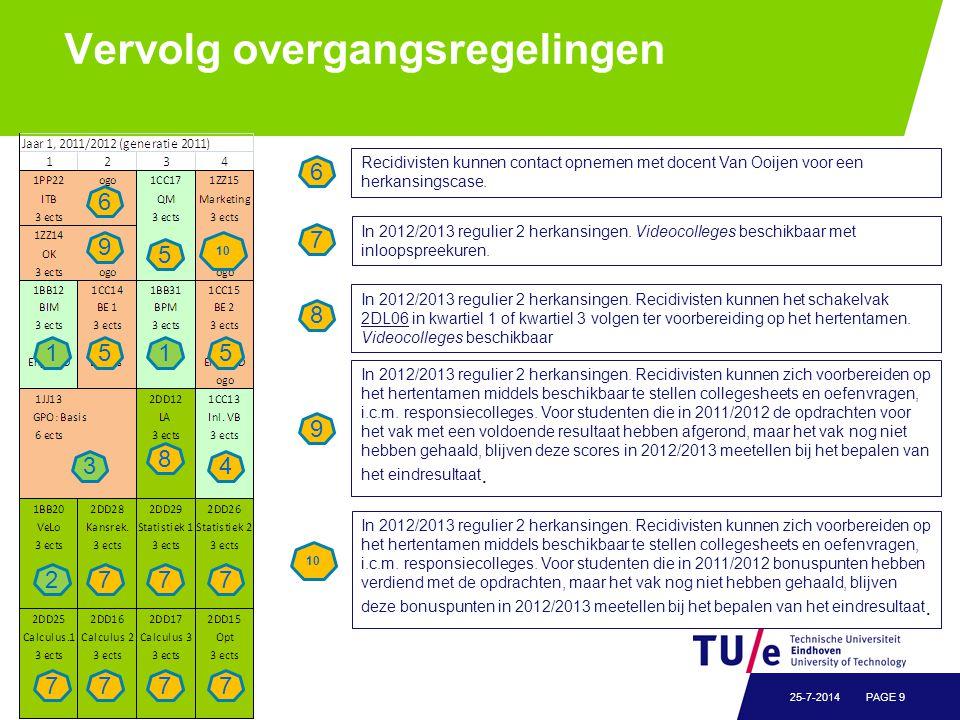 Vervolg overgangsregelingen / name of department PAGE 925-7-2014 Recidivisten kunnen contact opnemen met docent Van Ooijen voor een herkansingscase. 6
