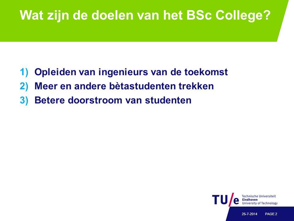 Wat zijn de doelen van het BSc College? 1)Opleiden van ingenieurs van de toekomst 2)Meer en andere bètastudenten trekken 3)Betere doorstroom van stude