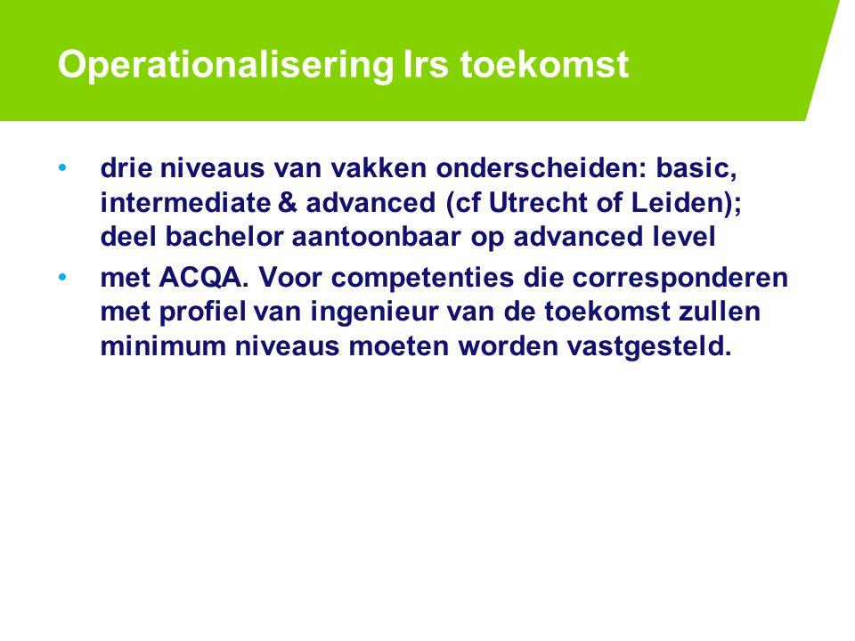 Operationalisering Irs toekomst drie niveaus van vakken onderscheiden: basic, intermediate & advanced (cf Utrecht of Leiden); deel bachelor aantoonbaar op advanced level met ACQA.
