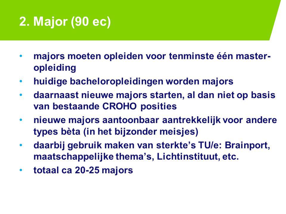 2. Major (90 ec) majors moeten opleiden voor tenminste één master- opleiding huidige bacheloropleidingen worden majors daarnaast nieuwe majors starten