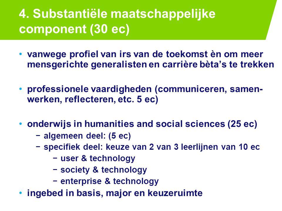 4. Substantiële maatschappelijke component (30 ec) PAGE 2425-7-2014 vanwege profiel van irs van de toekomst èn om meer mensgerichte generalisten en ca