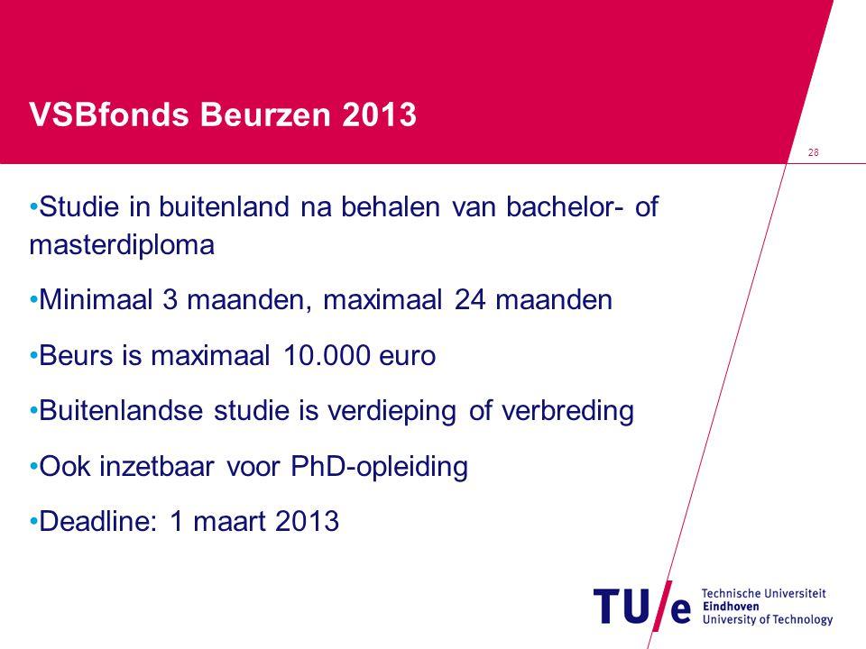 VSBfonds Beurzen 2013 Studie in buitenland na behalen van bachelor- of masterdiploma Minimaal 3 maanden, maximaal 24 maanden Beurs is maximaal 10.000