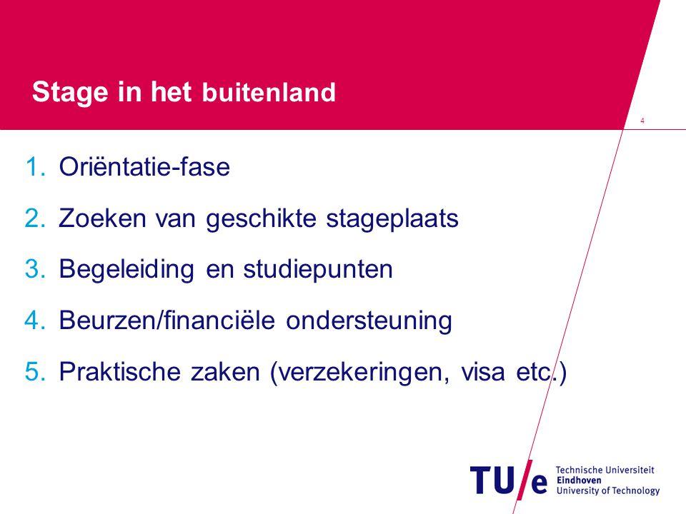 4 Stage in het buitenland 1.Oriëntatie-fase 2.Zoeken van geschikte stageplaats 3.Begeleiding en studiepunten 4.Beurzen/financiële ondersteuning 5.Praktische zaken (verzekeringen, visa etc.)