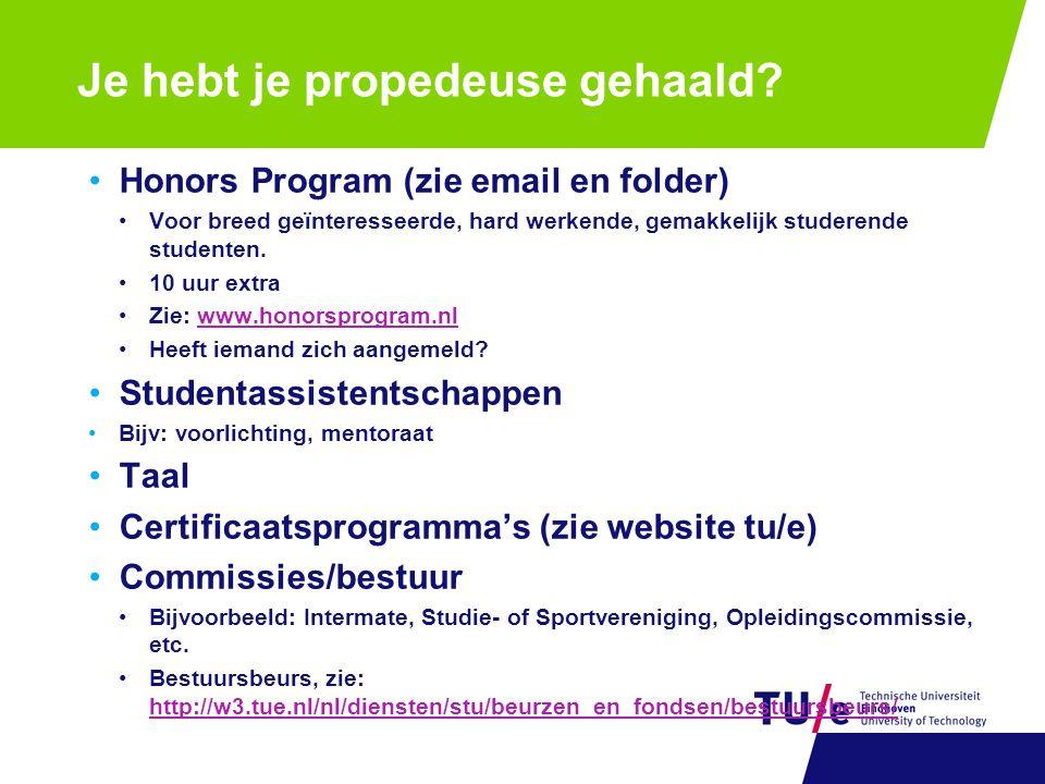 Honors Program (zie email en folder) Voor breed geïnteresseerde, hard werkende, gemakkelijk studerende studenten. 10 uur extra Zie: www.honorsprogram.