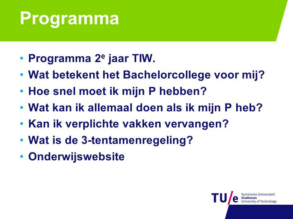 Programma Programma 2 e jaar TIW. Wat betekent het Bachelorcollege voor mij.