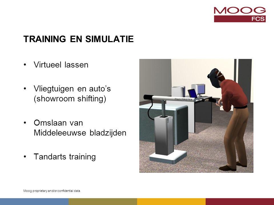 Moog proprietary and/or confidential data TRAINING EN SIMULATIE Virtueel lassen Vliegtuigen en auto's (showroom shifting) Omslaan van Middeleeuwse bladzijden Tandarts training