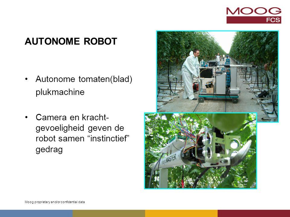 Moog proprietary and/or confidential data AUTONOME ROBOT Autonome tomaten(blad) plukmachine Camera en kracht- gevoeligheid geven de robot samen instinctief gedrag