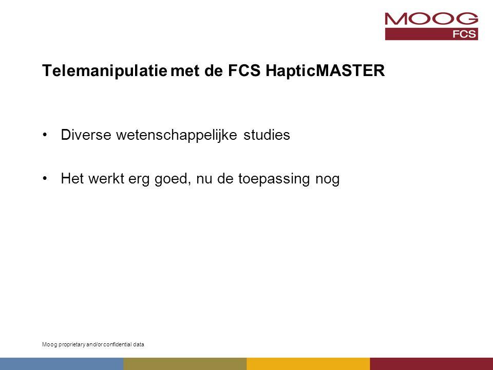Moog proprietary and/or confidential data Telemanipulatie met de FCS HapticMASTER Diverse wetenschappelijke studies Het werkt erg goed, nu de toepassing nog