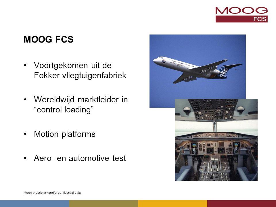 Moog proprietary and/or confidential data MOOG FCS Voortgekomen uit de Fokker vliegtuigenfabriek Wereldwijd marktleider in control loading Motion platforms Aero- en automotive test