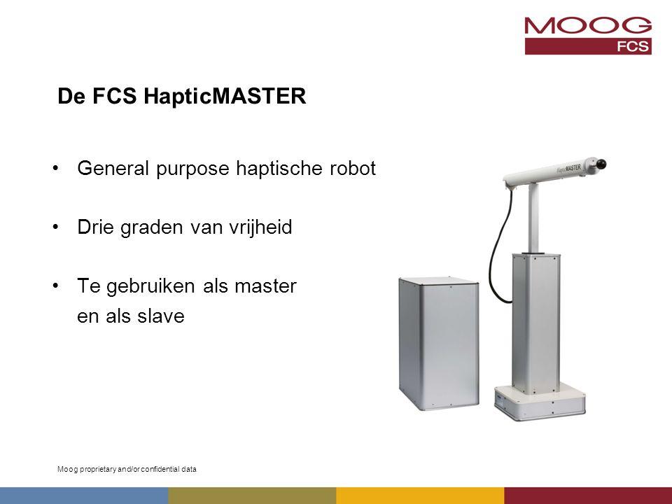 Moog proprietary and/or confidential data De FCS HapticMASTER General purpose haptische robot Drie graden van vrijheid Te gebruiken als master en als slave