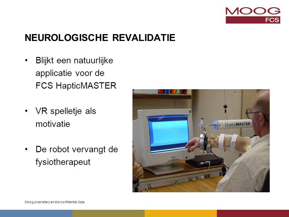Moog proprietary and/or confidential data NEUROLOGISCHE REVALIDATIE Blijkt een natuurlijke applicatie voor de FCS HapticMASTER VR spelletje als motivatie De robot vervangt de fysiotherapeut