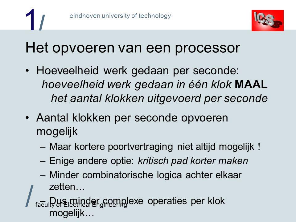 1/1/ / faculty of Electrical Engineering eindhoven university of technology Het opvoeren van een processor Hoeveelheid werk gedaan per seconde: hoevee