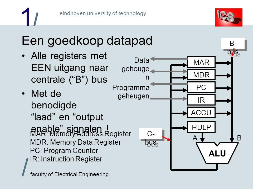 1/1/ / faculty of Electrical Engineering eindhoven university of technology Spelregels voor het datapad Alle data-overdrachten op dezelfde manier –Van register, via bussen en combinatorische logica (waaronder ALU en tri-state buffers) naar register lezen uit geheugen is hier combinatorisch .