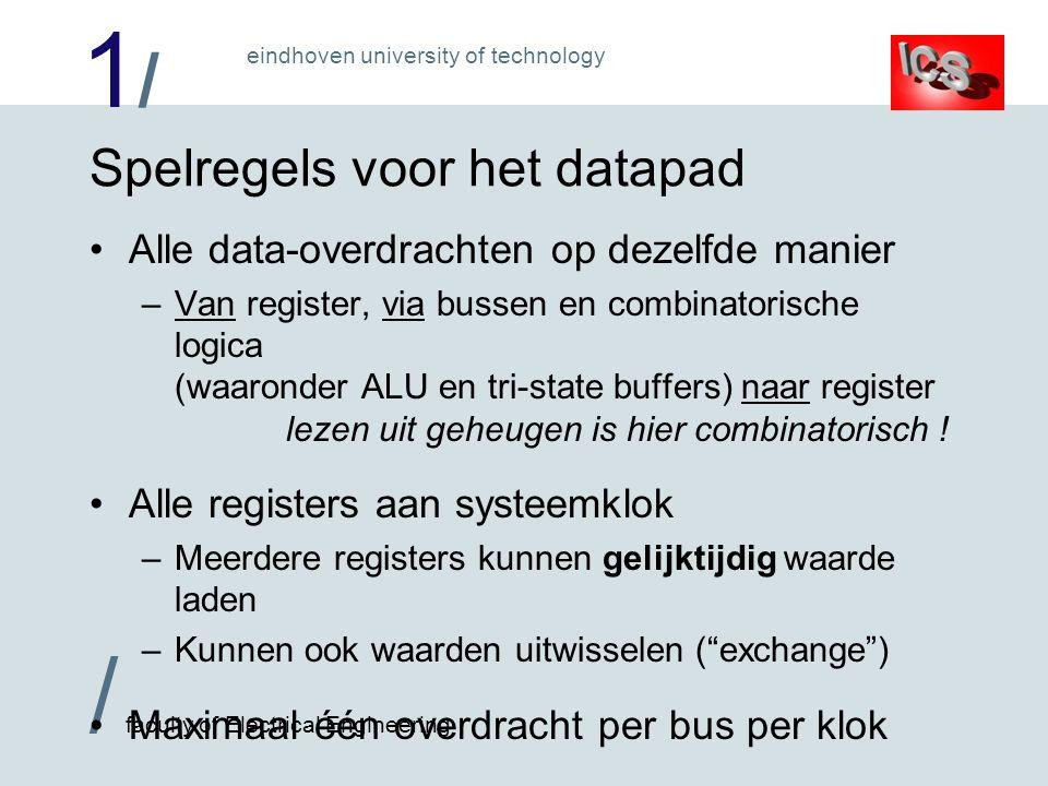 1/1/ / faculty of Electrical Engineering eindhoven university of technology Afhandeling van ADD A,(MAR) B ALU MAR MDR PC IR ACCU HULP A Data geheuge n Programma geheugen Klok 1: Instructie ophalen PC verhogen (ALU: B+1) Klok 2: Data geheugen lezen HULP  ACCU (ALU: B) Klok 3: ACCU  HULP + MDR (ALU: A+B) Nu weten we pas, welke instructie het is!