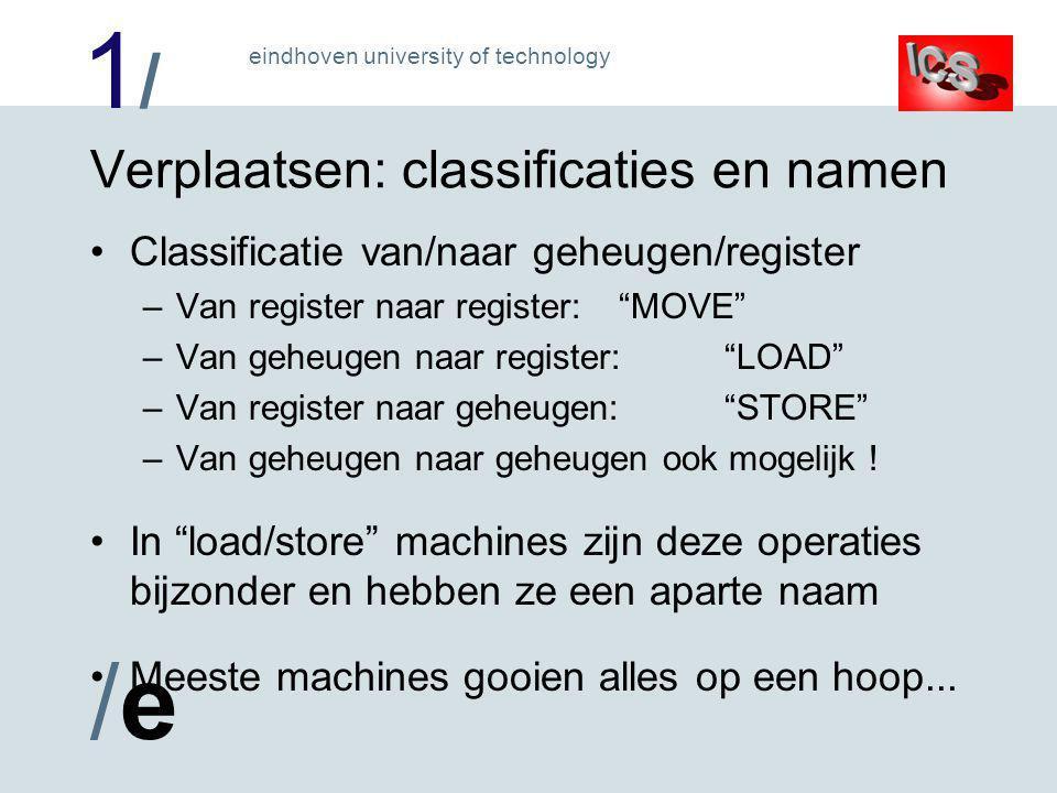 1/1/ /e/e eindhoven university of technology Practicumprocessor byte MOVe's Programma @A+DPTR Programma @A+PC Extern @R0/R1 Extern @DPTR A Immediate Stack PUSH POP Intern @R0/R1 Direct Register R0..R7 127: SFR (incl.