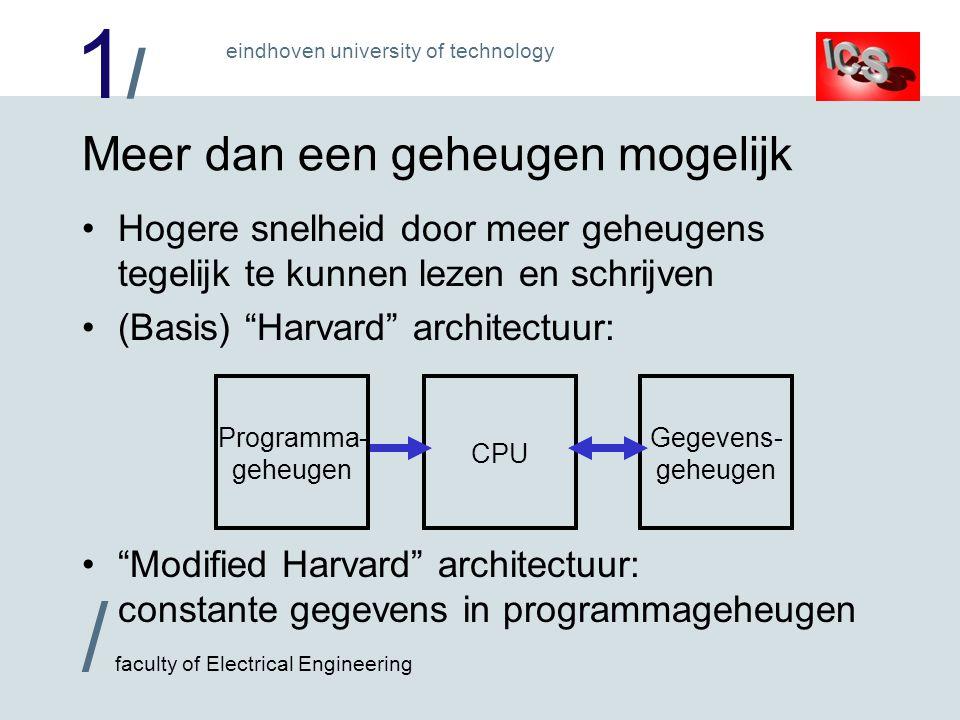 1/1/ / faculty of Electrical Engineering eindhoven university of technology Meer dan een geheugen mogelijk Hogere snelheid door meer geheugens tegelij