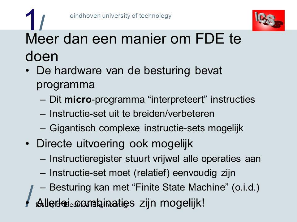 1/1/ / faculty of Electrical Engineering eindhoven university of technology Meer dan een manier om FDE te doen De hardware van de besturing bevat prog