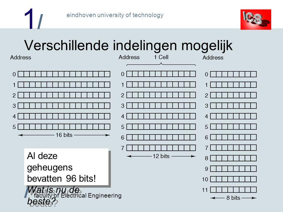 1/1/ / faculty of Electrical Engineering eindhoven university of technology Verdere indelingen van geheugens Aantal bits in cel (nu) meestal macht van twee 2 3 (8) is meest geliefde aantal bits/cel: byte –Geheugen adresseerbaar per byte cel Cellen worden gegroepeerd in woorden –bijv.