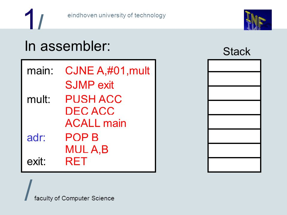 1/1/ / faculty of Computer Science eindhoven university of technology In assembler: main: mult: CJNE A,#01,mult SJMP exit exit: PUSH ACC DEC ACC ACALL