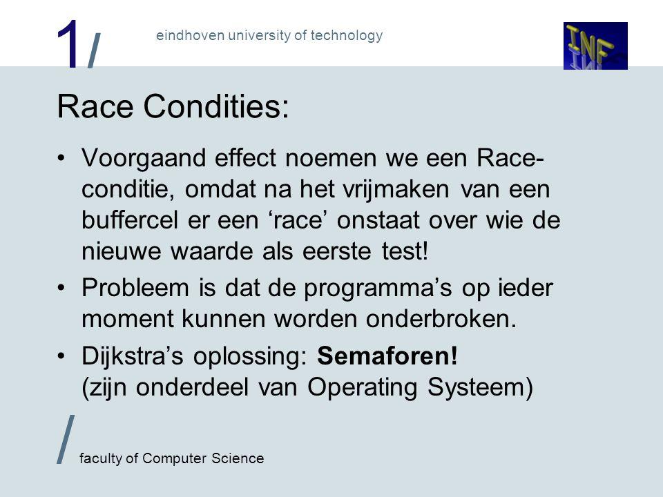 1/1/ / faculty of Computer Science eindhoven university of technology Race Condities: Voorgaand effect noemen we een Race- conditie, omdat na het vrij