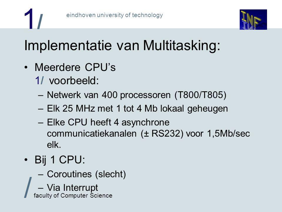 1/1/ / faculty of Computer Science eindhoven university of technology Implementatie van Multitasking: Meerdere CPU's 1/ voorbeeld: –Netwerk van 400 pr