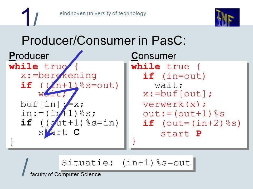 1/1/ / faculty of Computer Science eindhoven university of technology Race Condities: Voorgaand effect noemen we een Race- conditie, omdat na het vrijmaken van een buffercel er een 'race' onstaat over wie de nieuwe waarde als eerste test.