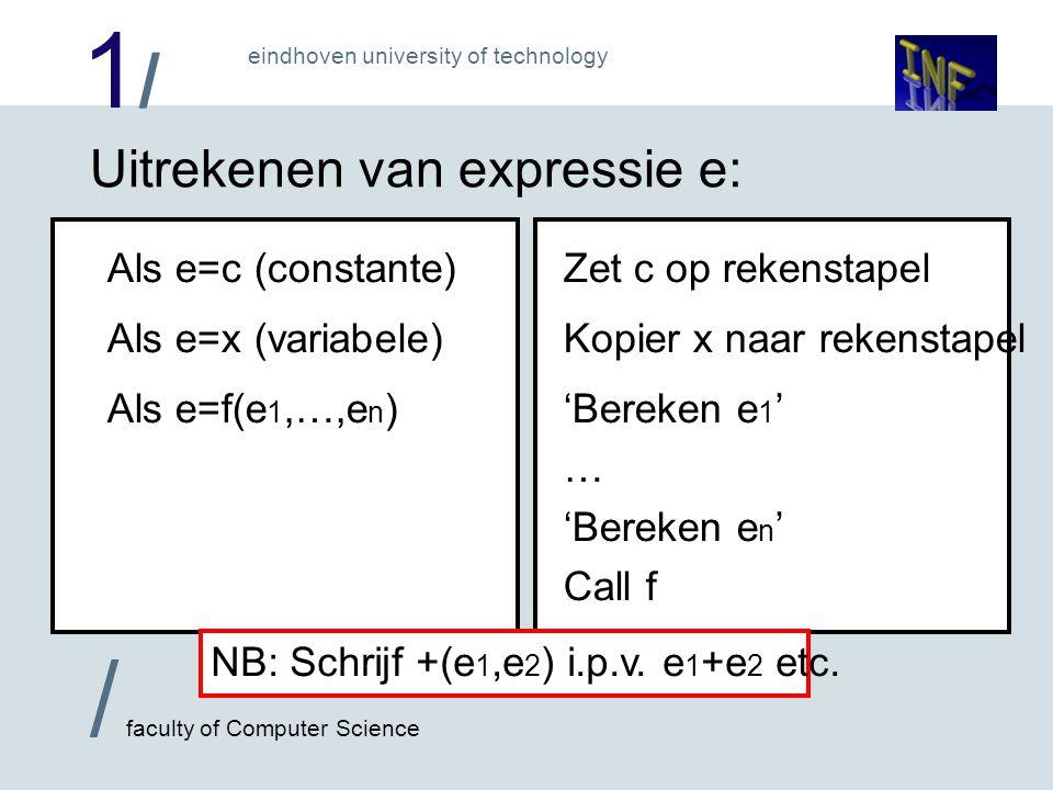1/1/ / faculty of Computer Science eindhoven university of technology PUSH math,7 math,7 'bereken ² (3) ' 'bereken x' CALL minus CALL plus 'bereken 7' 'bereken -( ² (3),x) ' CALL plus PUSH math,7 'bereken 3 ' CALL sqr MOV A,@x CALL minus CALL plus PUSH math,A PUSH math,7 PUSH math,3 CALL sqr MOV A,@x CALL minus CALL plus PUSH math,A (stel x=3) Voorbeeld: 7+(3²-x) Dus +(7,-( ² (3),x)) PUSH math,7 CALL sqr 7 3737 9797 9797 397397 6767 13 PUSH math,3 MOV A,@x PUSH math,A CALL minus CALL plus