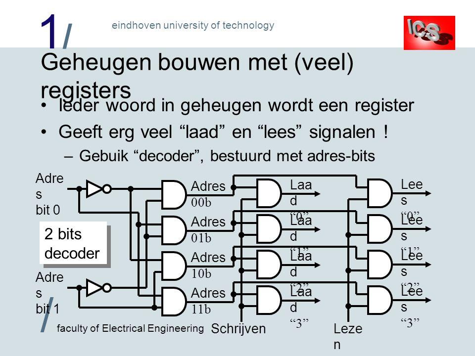 1/1/ / faculty of Electrical Engineering eindhoven university of technology Geheugen bouwen met (veel) registers Ieder woord in geheugen wordt een register Geeft erg veel laad en lees signalen .