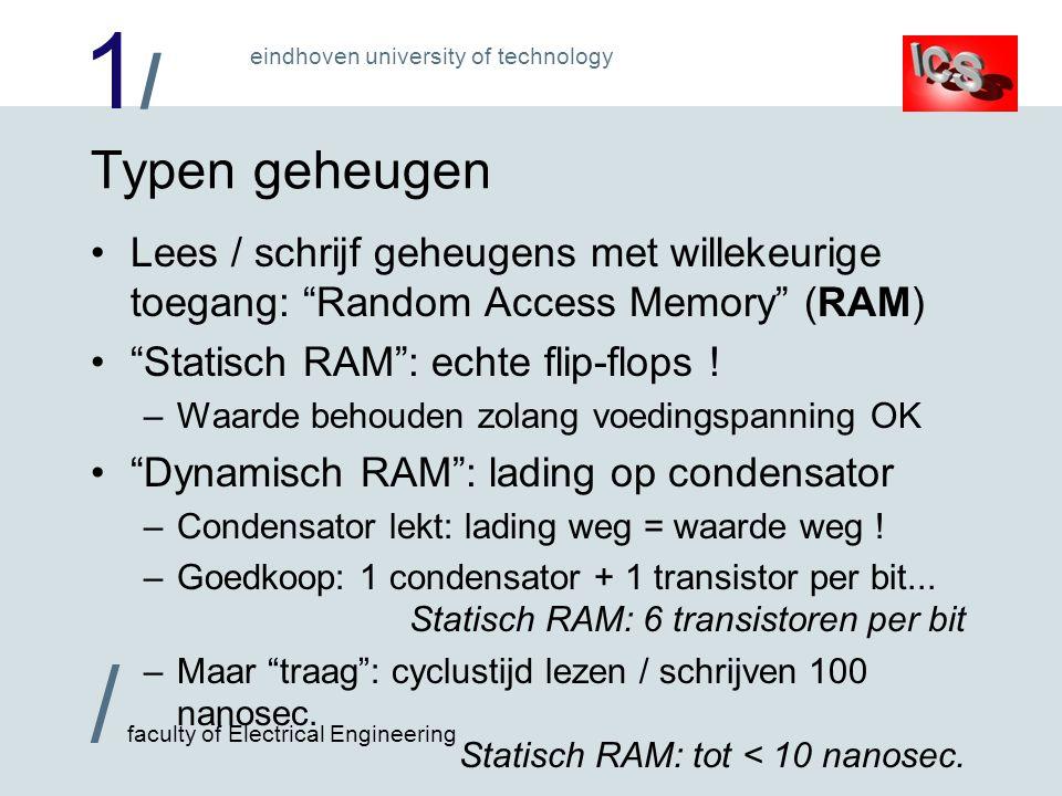 1/1/ / faculty of Electrical Engineering eindhoven university of technology Typen geheugen Lees / schrijf geheugens met willekeurige toegang: Random Access Memory (RAM) Statisch RAM : echte flip-flops .