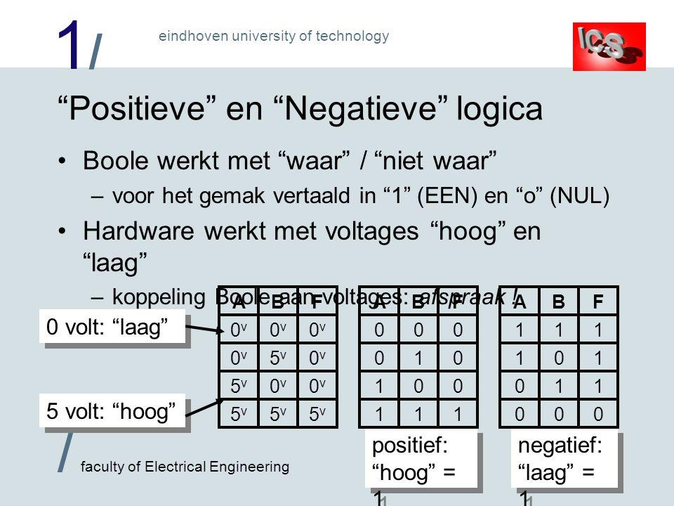 1/1/ / faculty of Electrical Engineering eindhoven university of technology Positieve en Negatieve logica Boole werkt met waar / niet waar –voor het gemak vertaald in 1 (EEN) en o (NUL) Hardware werkt met voltages hoog en laag –koppeling Boole aan voltages: afspraak .