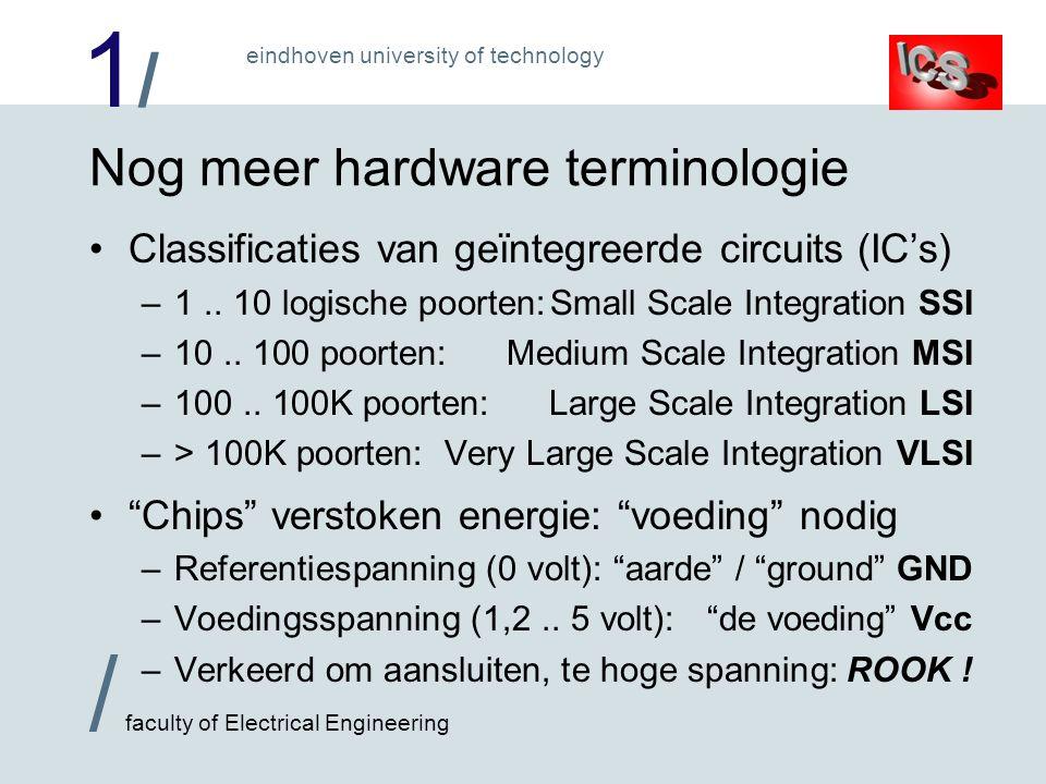 1/1/ / faculty of Electrical Engineering eindhoven university of technology Nog meer hardware terminologie Classificaties van geïntegreerde circuits (IC's) –1..