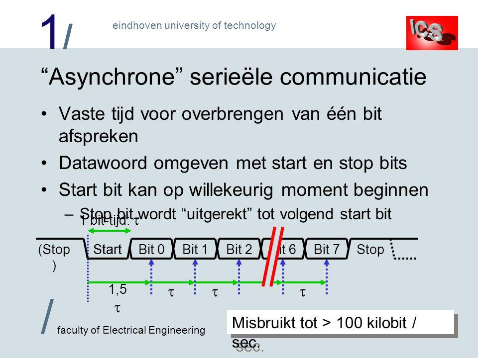 1/1/ / faculty of Electrical Engineering eindhoven university of technology Asynchrone serieële communicatie Vaste tijd voor overbrengen van één bit afspreken Datawoord omgeven met start en stop bits Start bit kan op willekeurig moment beginnen –Stop bit wordt uitgerekt tot volgend start bit Bit 0Bit 1Bit 2Stop(Stop ) 1 bit-tijd:  1,5   Start Bit 6Bit 7 Misbruikt tot > 100 kilobit / sec.