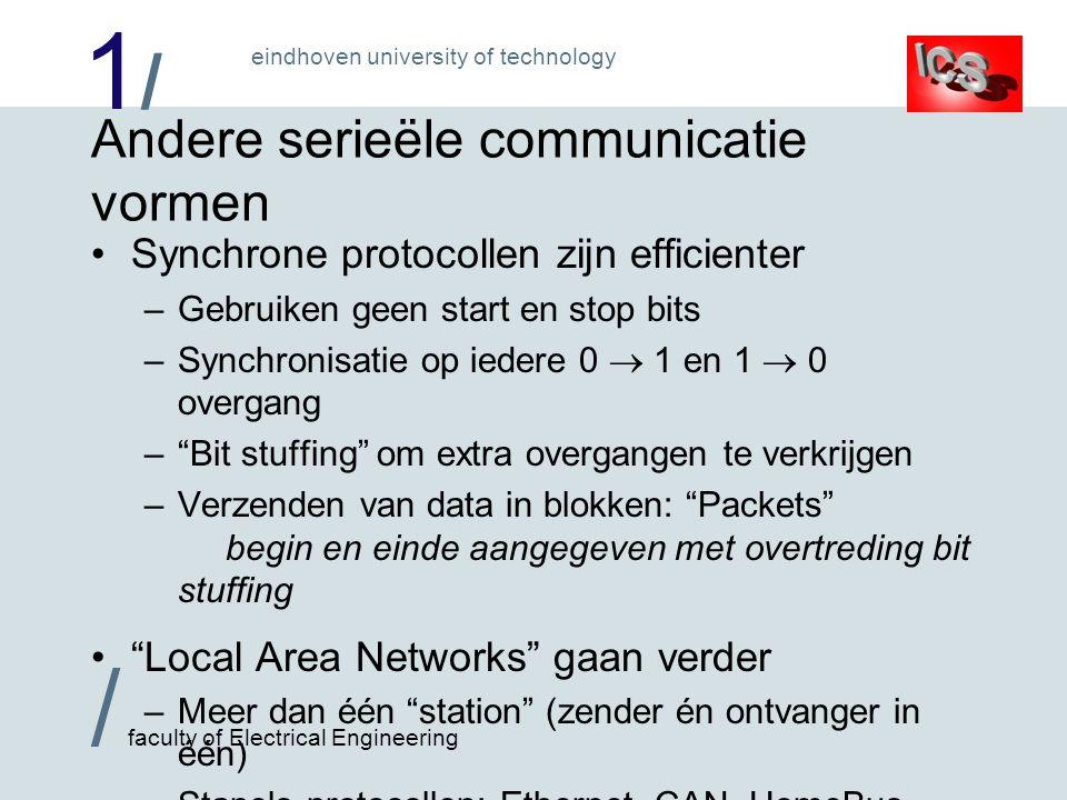 1/1/ / faculty of Electrical Engineering eindhoven university of technology Andere serieële communicatie vormen Synchrone protocollen zijn efficienter