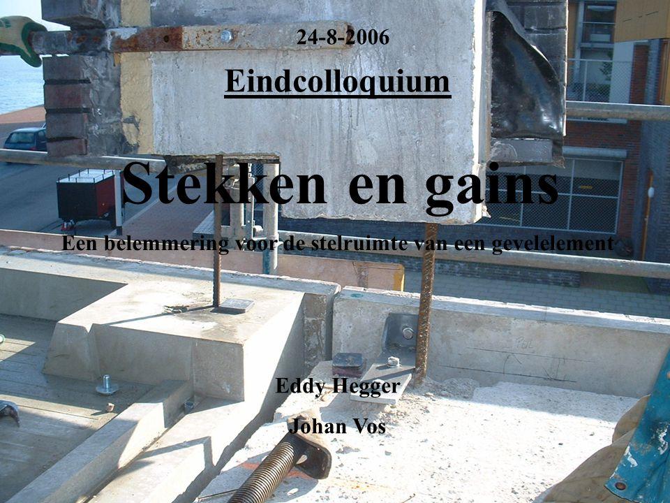 Stekken en gains 24-8-2006 Eindcolloquium Een belemmering voor de stelruimte van een gevelelement Afstudeercommissie: Dr.