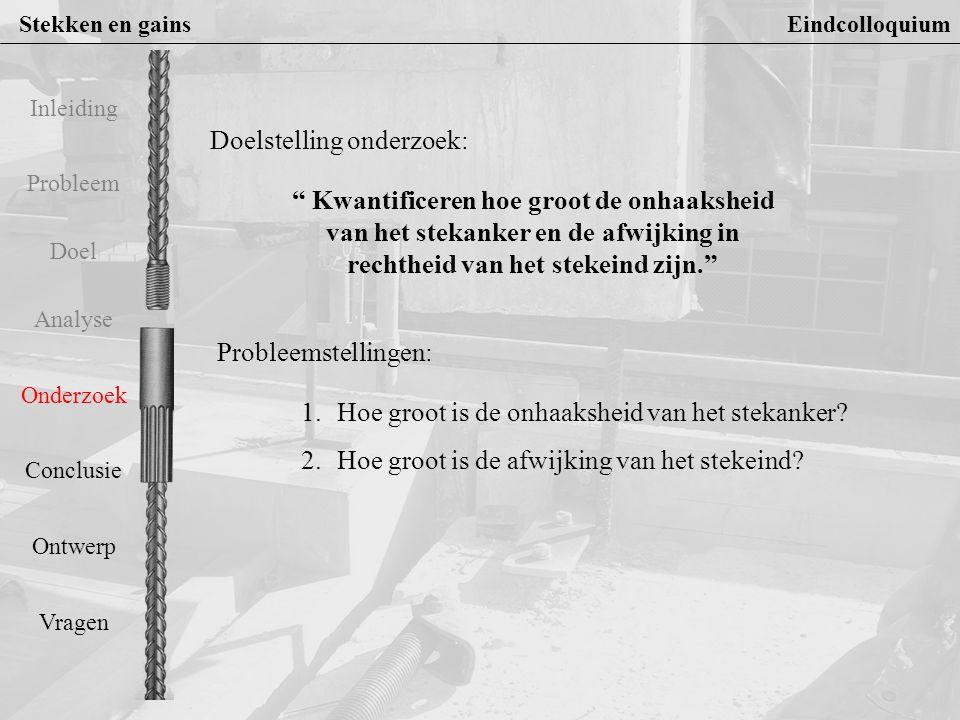 Stekken en gains Eindcolloquium Probleem Doel Analyse Onderzoek Conclusie Ontwerp Vragen Inleiding 1.