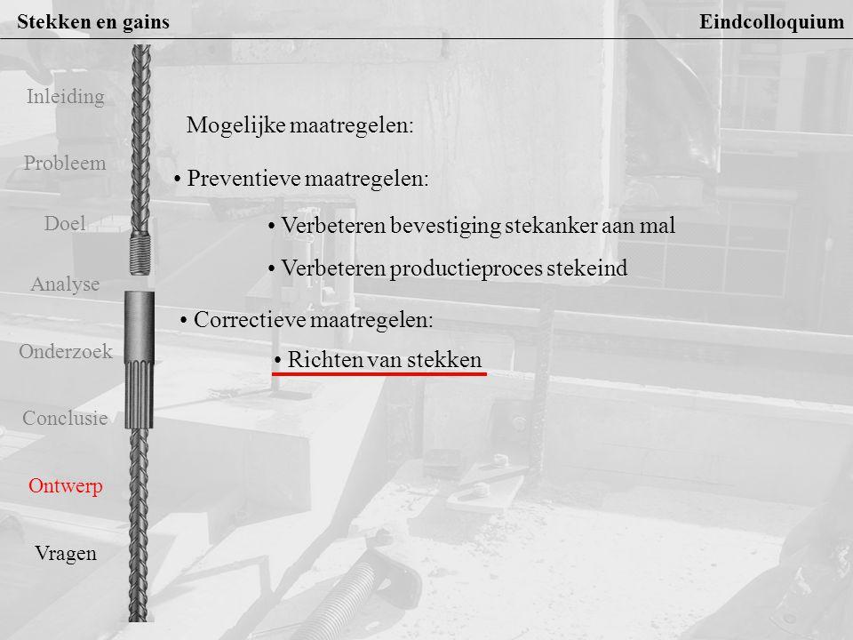 Stekken en gains Eindcolloquium Probleem Doel Analyse Onderzoek Conclusie Ontwerp Vragen Inleiding Richten van stekken 1 Eisen van het proces richten van stekken : 1.Meetmogelijkheid of stek een grenswaarde overschrijdt 2.Corrigeren van de afwijking in rechtstand d.m.v.