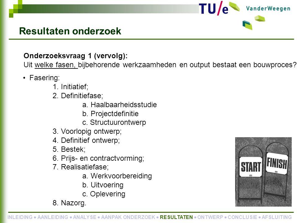 Onderzoeksvraag 1 (vervolg): Uit welke fasen, bijbehorende werkzaamheden en output bestaat een bouwproces.