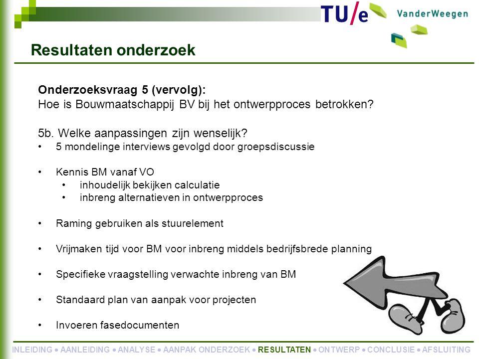 Onderzoeksvraag 5 (vervolg): Hoe is Bouwmaatschappij BV bij het ontwerpproces betrokken.