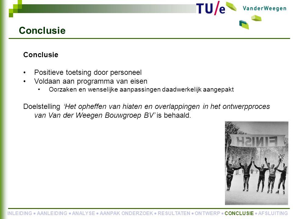 Conclusie Positieve toetsing door personeel Voldaan aan programma van eisen Oorzaken en wenselijke aanpassingen daadwerkelijk aangepakt Doelstelling 'Het opheffen van hiaten en overlappingen in het ontwerpproces van Van der Weegen Bouwgroep BV' is behaald.