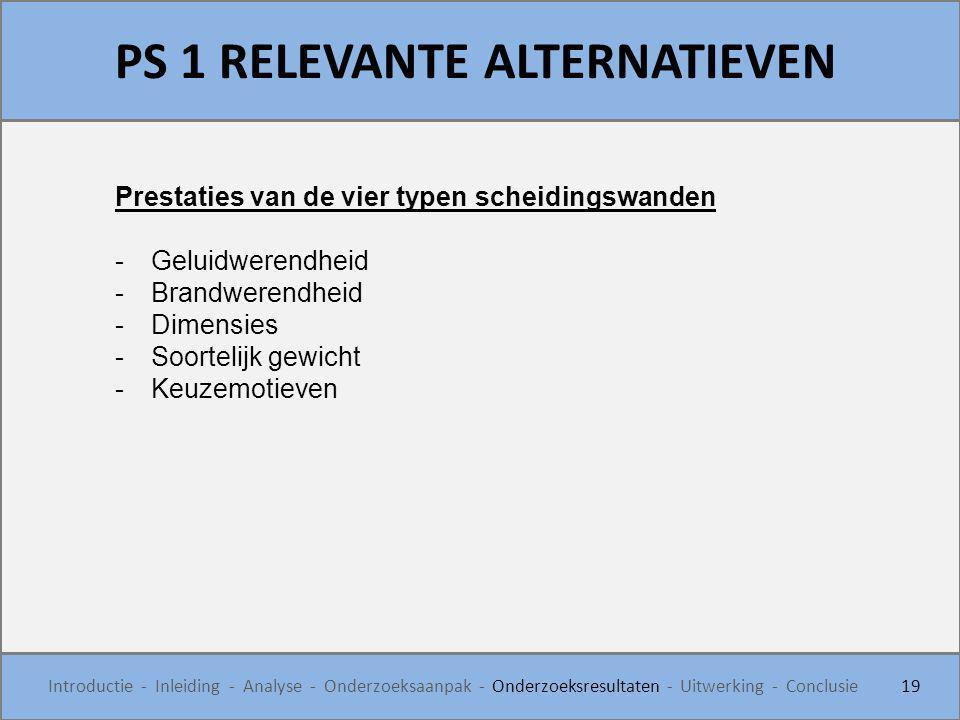PS 1 RELEVANTE ALTERNATIEVEN 19 Introductie - Inleiding - Analyse - Onderzoeksaanpak - Onderzoeksresultaten - Uitwerking - Conclusie Prestaties van de